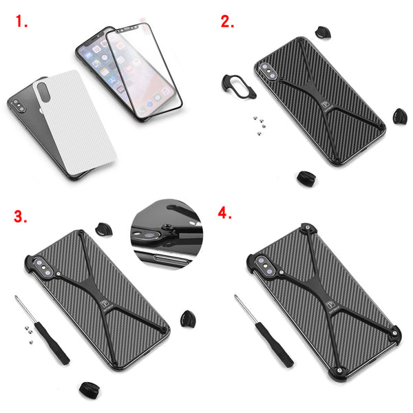 Personality X Shape Case For iPhone X With Gift Glass Film