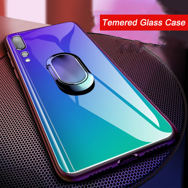 Fashion Tempered Glass Magnetic Bumper Case With Finger Ring for Huawei P20 pro