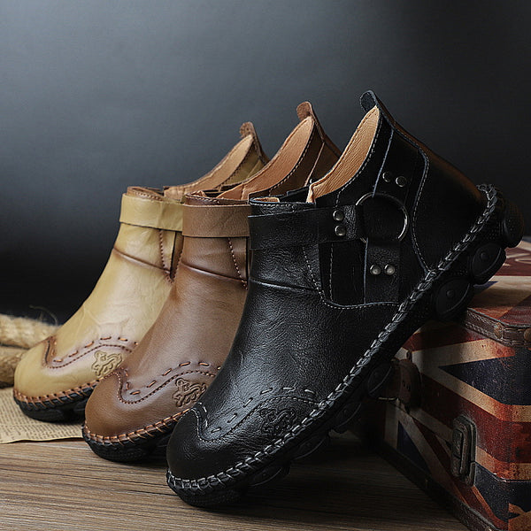 Autumn Comfortable Cow Split Leather Men Boots