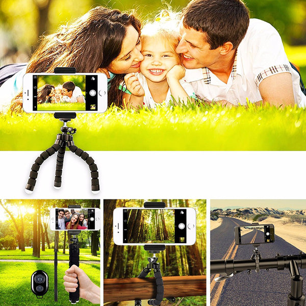 Metal Mini Flexible Tripod+Bluetooth Remote For iPhone