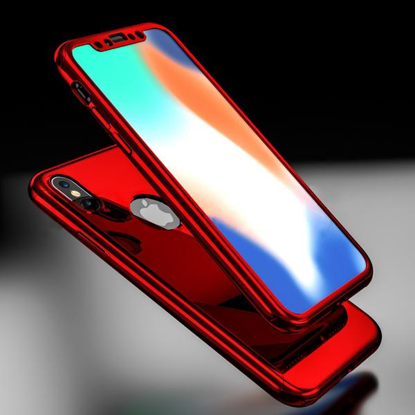 lowest price 2ac50 13349 Luxury Ultra Slim Plating Mirror Case For iPhone X 8 7 6 5 + Free Screen  Protector Film