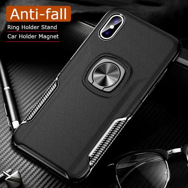 Anti-knock Metal Ring Car Silicone Case for iPhone X/XR/XS/8/7 Plus(BUY 2 TO GET 10% OFF)