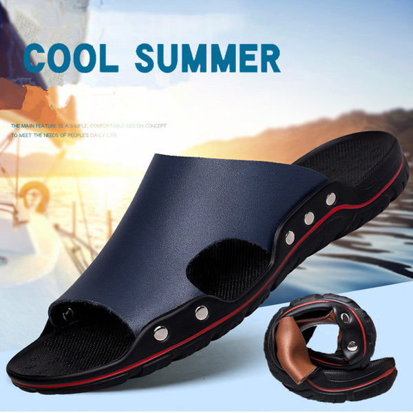 Summer Big Size men Cow Leather Slippers(BUY 2 TO GET 10% OFF)