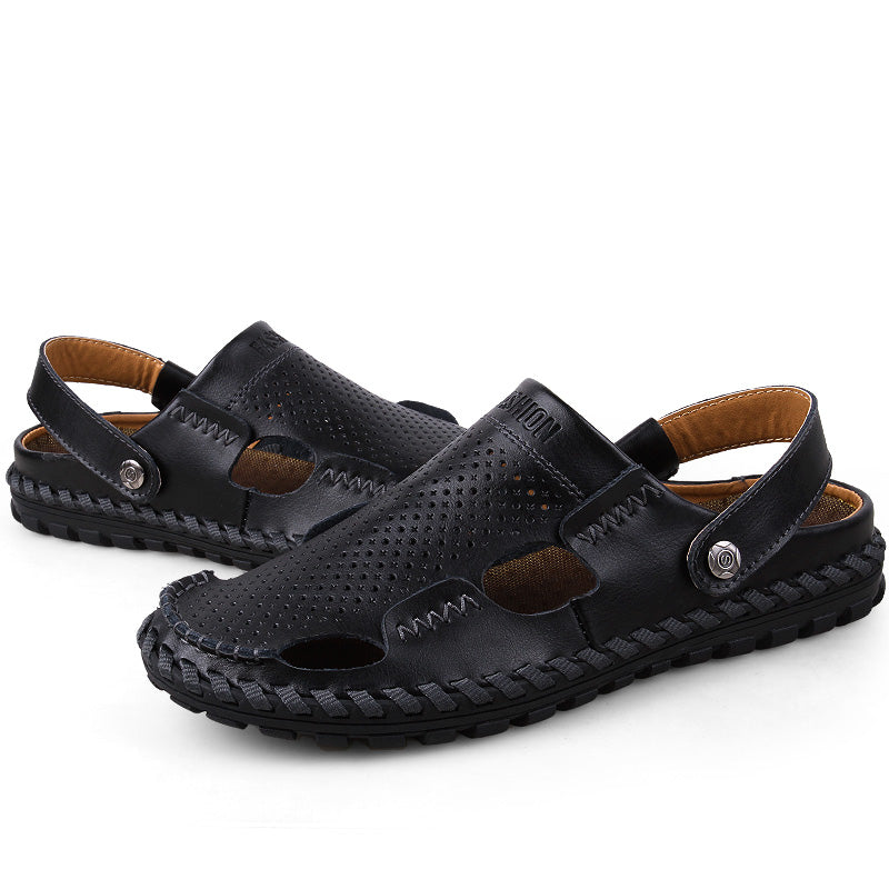 Male Summer Outdoor Casual Leather Sandals Slippers