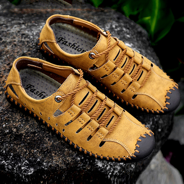 2018 New Summer Wearable Breathable Leather Hole Shoes