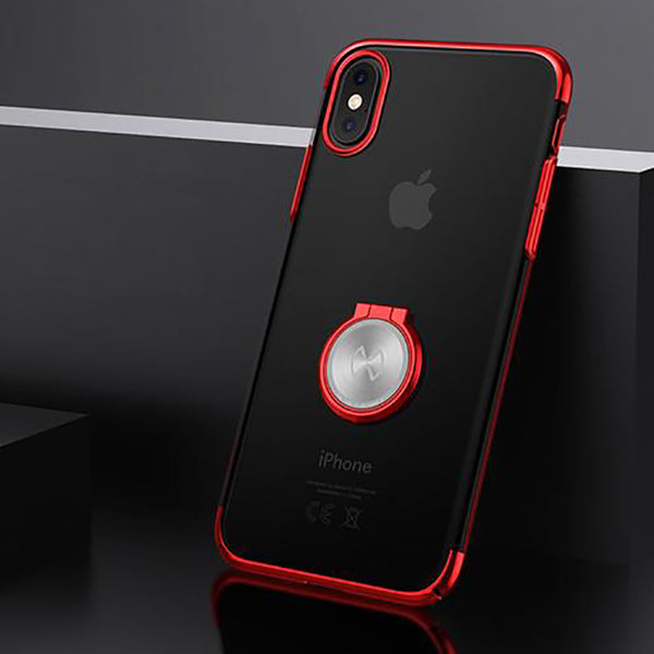 Luxury Transparent Hard PC back Cover Case For iphone X With Magnetic Car holder
