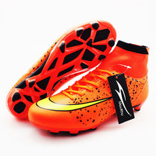 Load image into Gallery viewer, Men's Black Orange High Ankle AG Sole Outdoor Cleats Football Boots