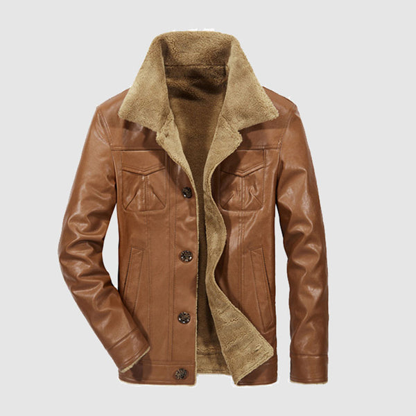 Winter Mens Windproof Warm Leather Jackets