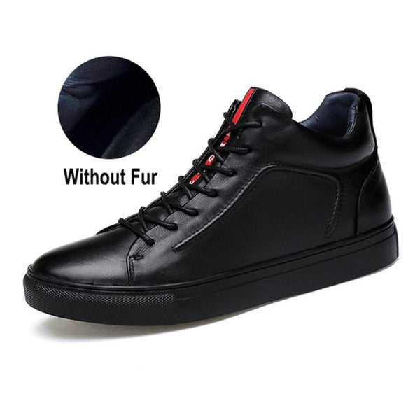 Winter Men Warm Leather Black Ankle Boots With Fur