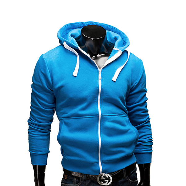 Fashion Solid Color Zipper Cardigan Hoodies