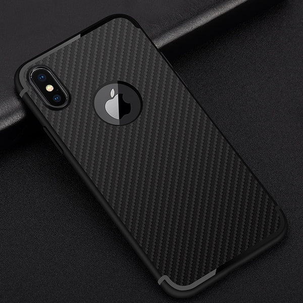 Carbon Fiber Texture TPU Soft Silicone Case for iPhone X