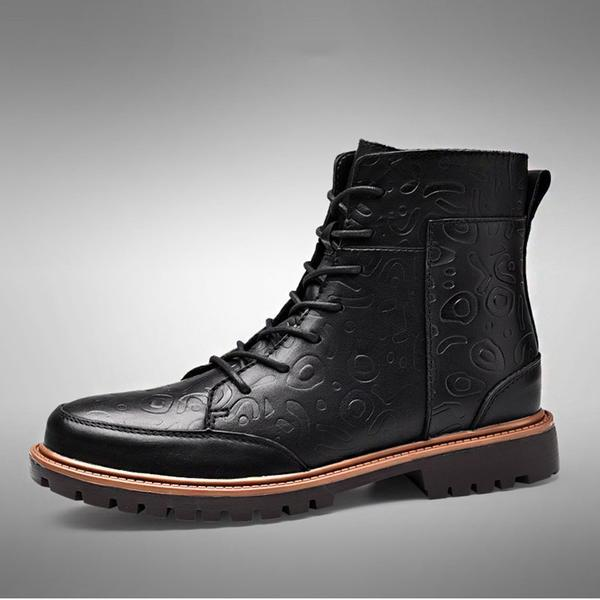 High Quality Men' Fashion Leather Woolen Boots
