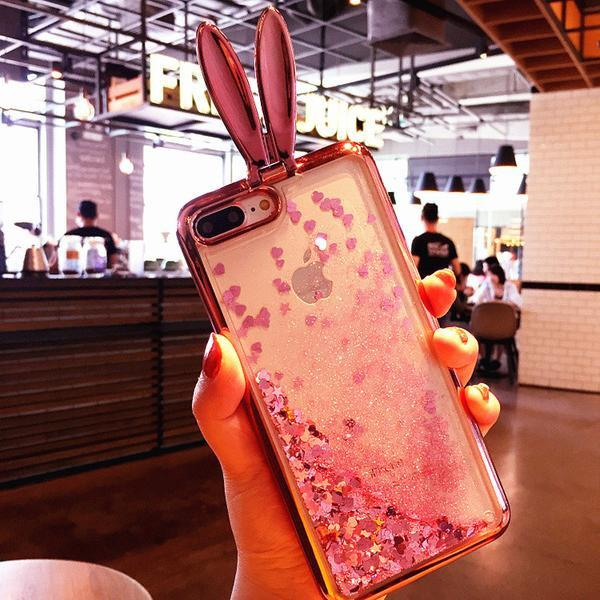 Cute Rabbit Ears Glitter Soft Silicone Stand Phone Cover For iPhone