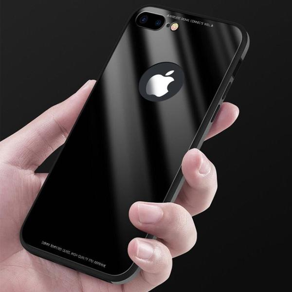 Luxury Ultra Thin Clear Tempered Glass + Soft TPU Frame Cases For iPhone X 8 7 6S 6/Plus