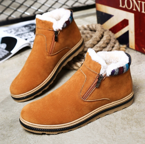 New Flats Warm Man Ankle Boots Plush Soft