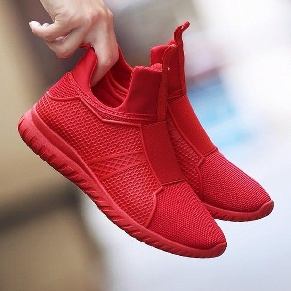 Breathable High Top Spring Autumn Fly Weave Men Shoes