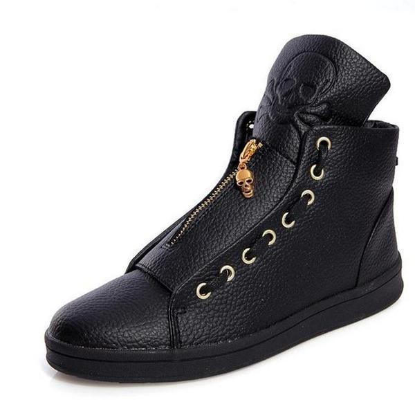 Luxury Men High Quality Hip Hop Skull Casual Leather High Top Shoes