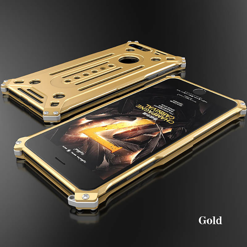 Luxury Glitter Hard Metal Frame Armor Full Body Protective Back Phone Case For iPhone