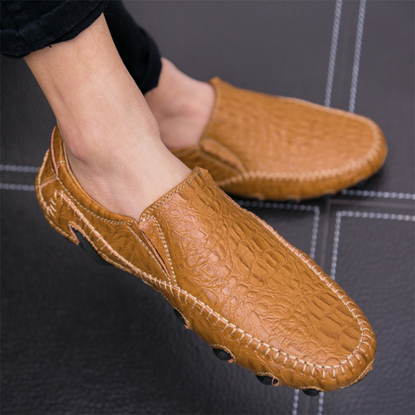 Fashion Leather Slip On Mens Driving Loafers