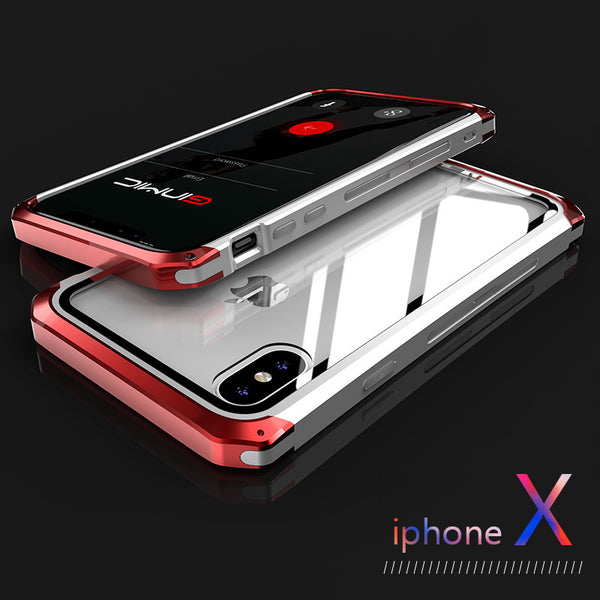 Toughened Glass & Metal Shockproof Shell for iPhone X/Xs/7/8 Plus(BUY 2PCS TO GET 10% OFF)