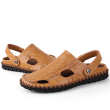 Load image into Gallery viewer, Male Summer Outdoor Casual Leather Sandals Slippers