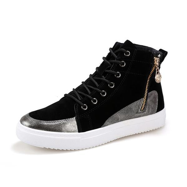 Fashion PU Leather Heavy-Bottomed High Top Mens Shoes