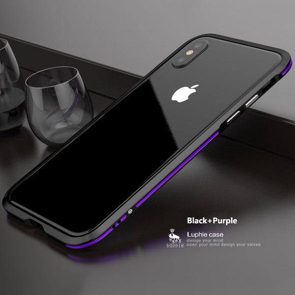 Luxury Dual Color Aluminum Metal Frame Case for iPhone X 7 8 Plus