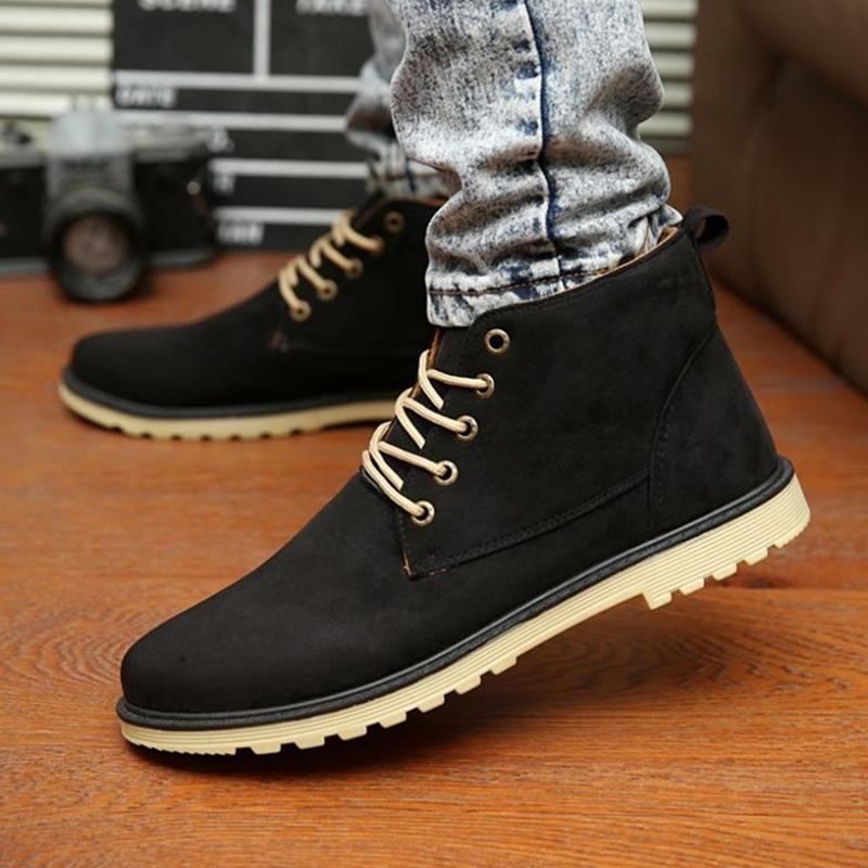 New 2017 PU Leather Men Boots Fashion Warm Cotton Brand ankle boots
