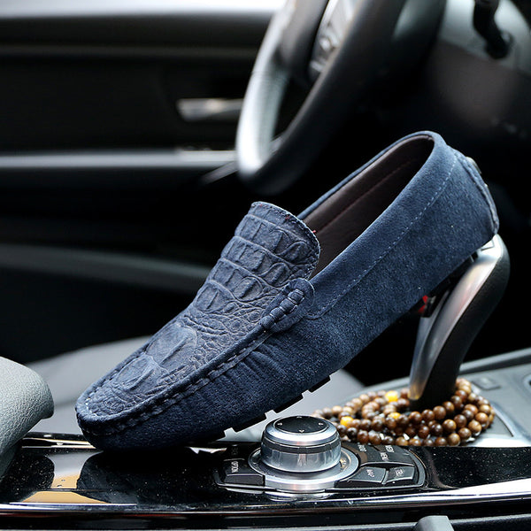 2018 Crocodile Suede Male Driving Moccasins