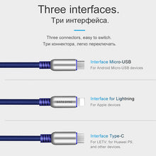 Load image into Gallery viewer, 3 in 1 Zinc Alloy 90 Degree USB Data Charging Cable
