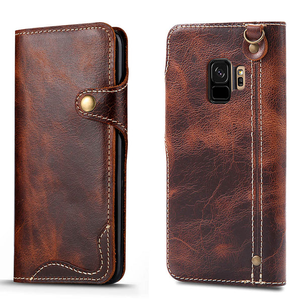Luxury Retro Flip Wallet Leather Case for Samsung S9/Note 8/S8