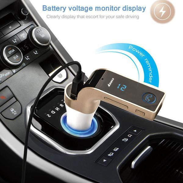 FM Transmitter - 4-in-1 Hands Free Wireless Bluetooth FM Transmitter Car Kit