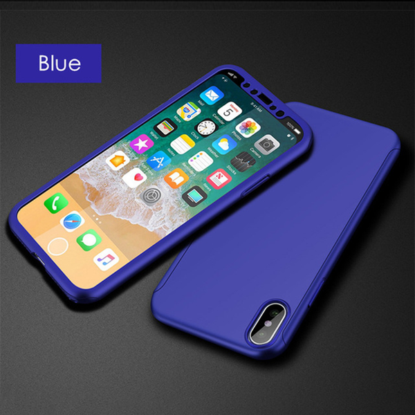Exclusive Purple 360 Degree Full Cover Case With Tempered Glass  For iPhone X