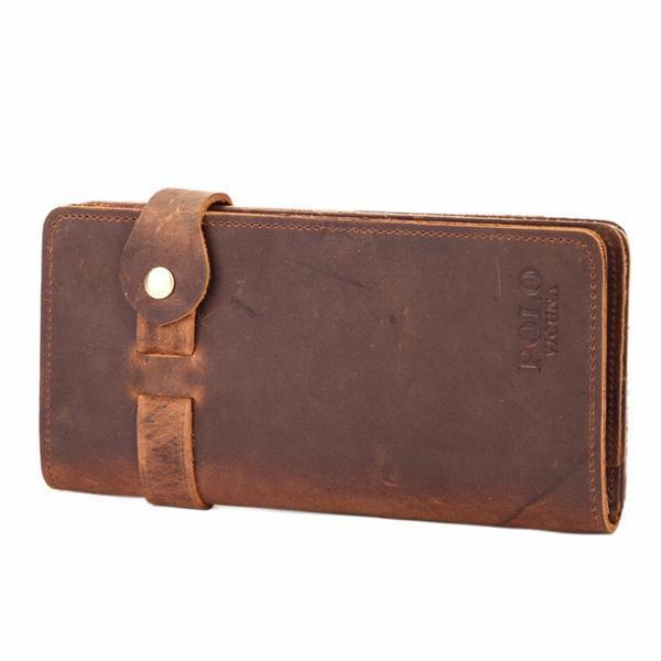 Vintage Hasp Open Genuine Leather Wallet