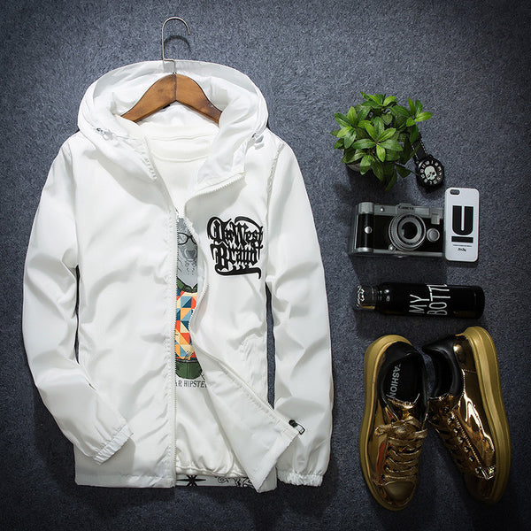 Men Spring Casual Hooded White Outerwear Basic Jacket
