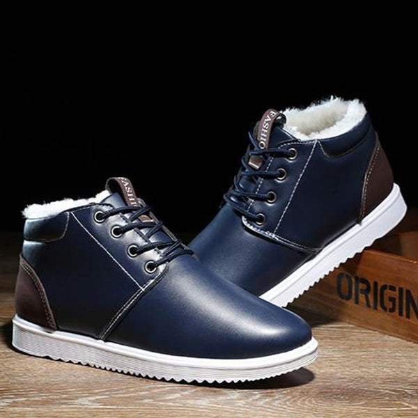 lace-up snow boots solid ankle boots plush warm