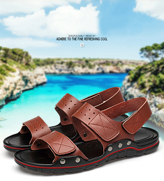 Summer Roman Comfortable Men Genuine Leather Soft Beach Sandals(BUY 2 TO GET 10% OFF)