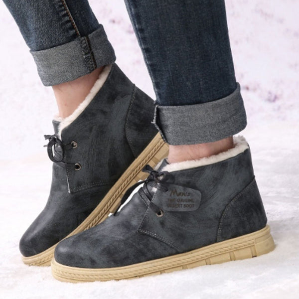 Waterproof Leather Ankle Boots With Fur Lace Up