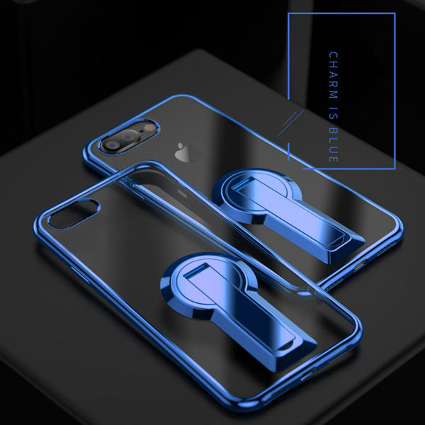 Luxury Plating Clear Kickstand Case For iPhone X/8/7 Plus/6s