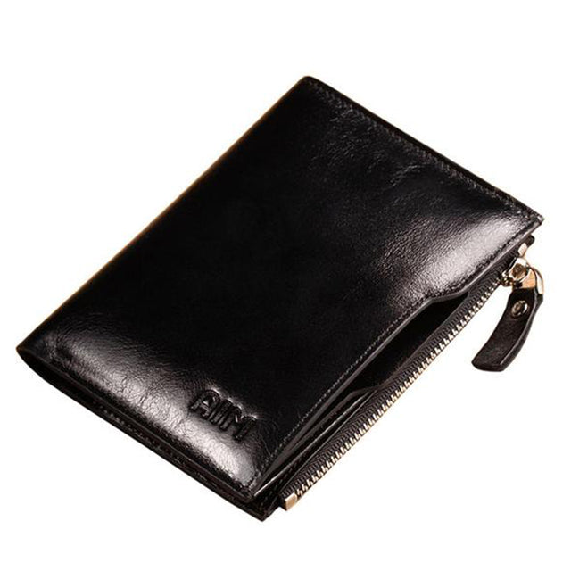 Fashion Cow Leather Zipper Wallet