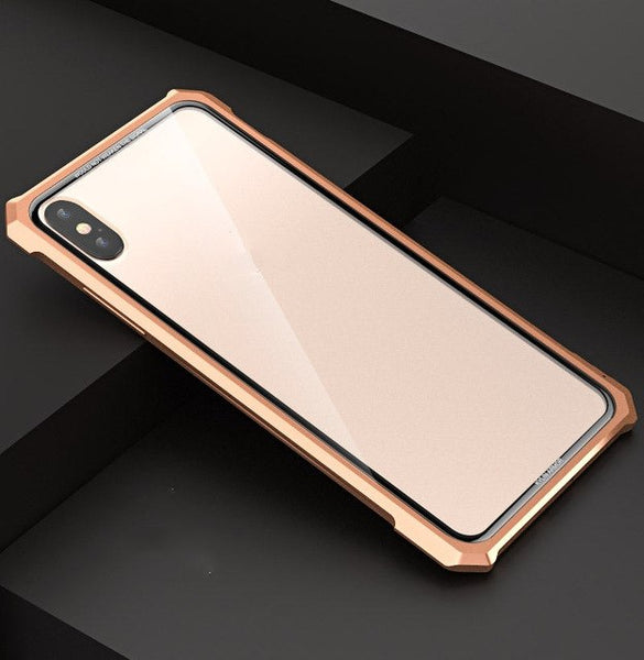 Tempered Glass Metal Frame Clear Glass Back Case for iPhone XS /XS Max Case
