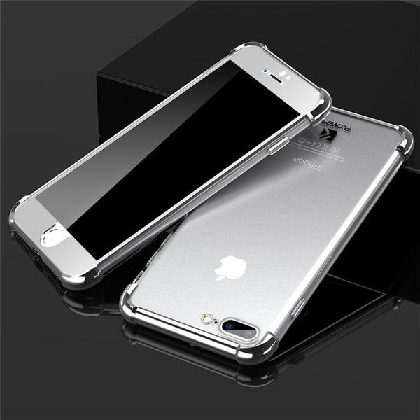 Transparent Silicone Back Clear Soft Case + Bling Mirror Front Cover For iPhone  X 7 8 Plus