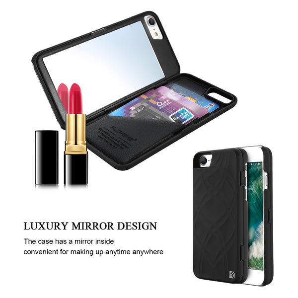 Mirror Wallet+Card Slot Cover Makeup Phone Cases For Apple iPhone 8 X 7 Plus