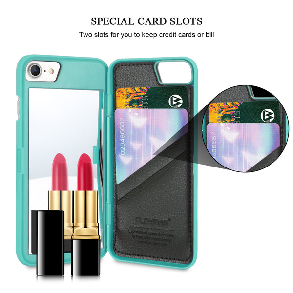 e2e17a215 Mirror Wallet+Card Slot Cover Makeup Phone Cases For Apple iPhone 8 X 7 Plus