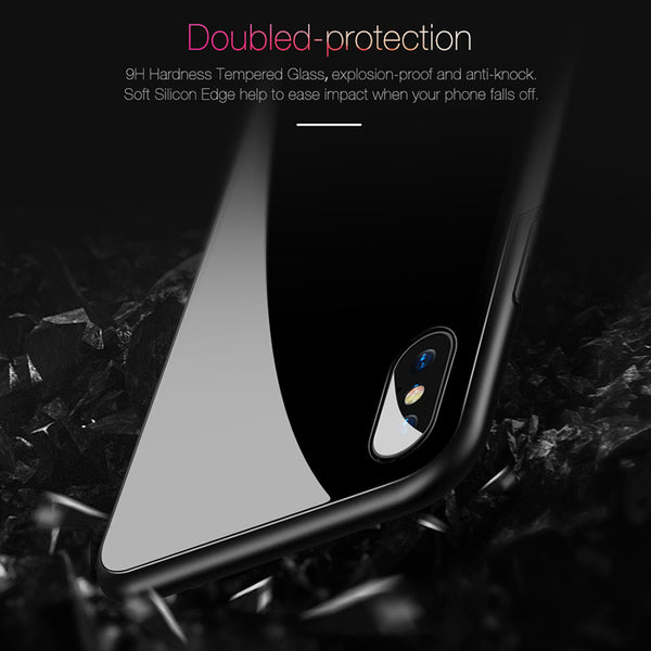 Protective Tempered Glass Case For iPhone X  iPhone 8 7 Plus