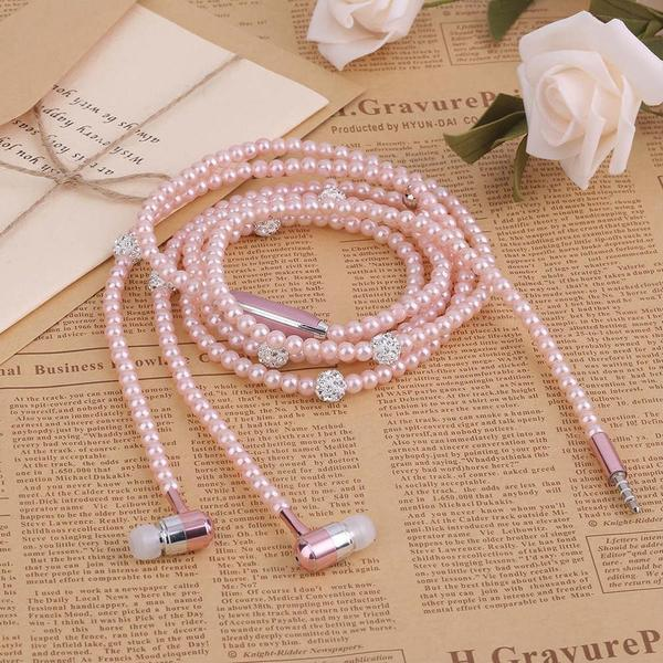 Fashionable Pearl Plated Necklace Design Earphone