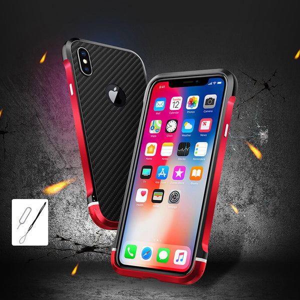 Metal Frame Case with Back Carbon Fiber Case For IPhone X