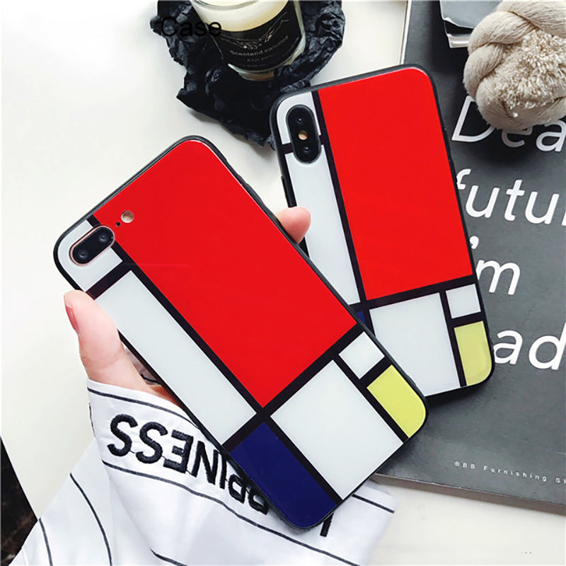 Color Matching Glass Hard Back Cover   Phone Case for iphone