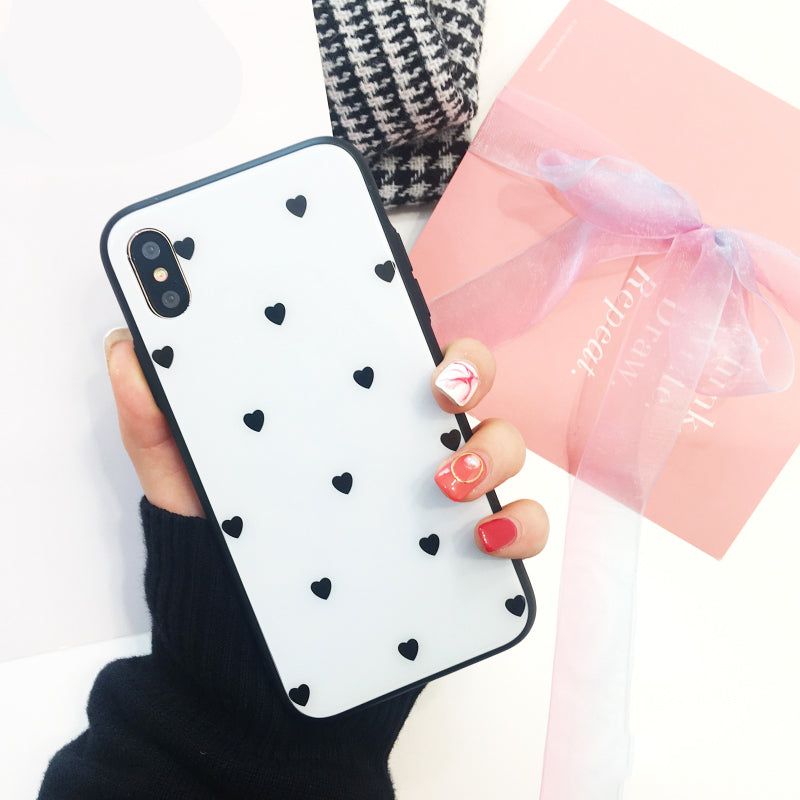 Cute Love Heart Glass Phone Case for IPhone