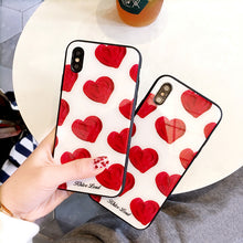 Load image into Gallery viewer, Sweet Anti-knock Hard Red Love Heart Glass Phone Case for IPhone